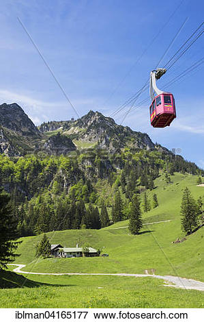 Picture of Brundlingalm or Brundling Alp, and Hochfelln cable car.