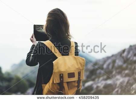 Hipster Girl Backpack Enjoying Sunset On Stock Foto 454532236.