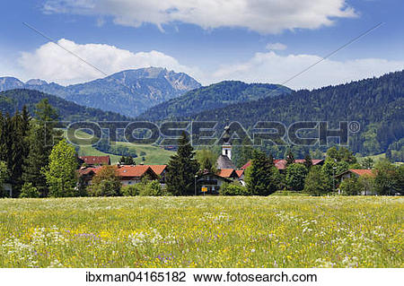 Stock Photo of Townscape, Hochfelln mountain behind, Chiemgau Alps.