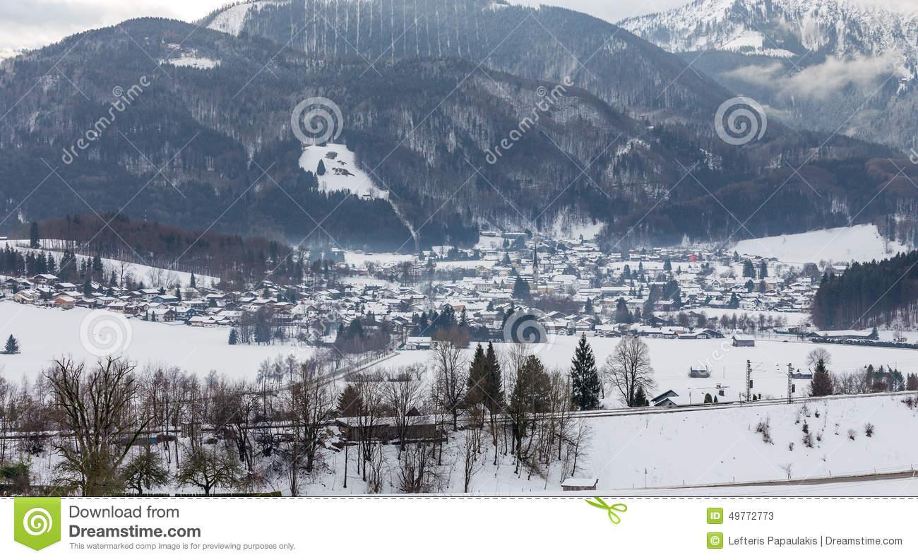 Winter View Of Bergen Am Hochfelln Village, Bavaria, Germany Stock.
