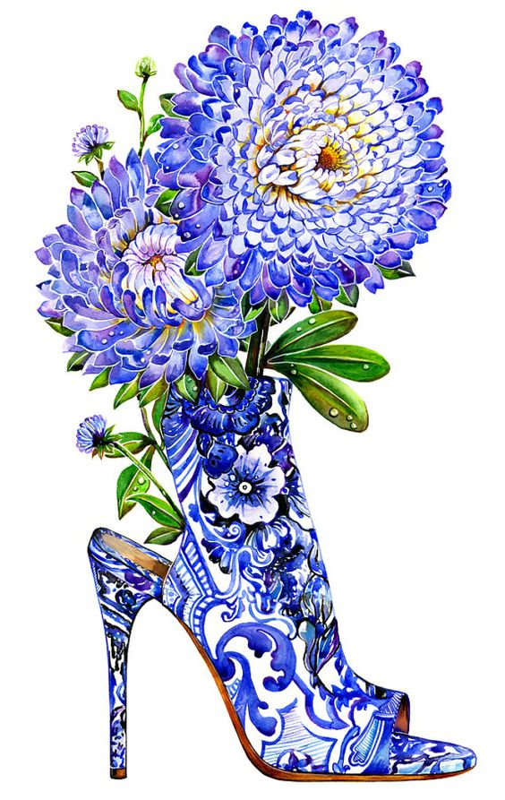 Illustrated high heel shoe.