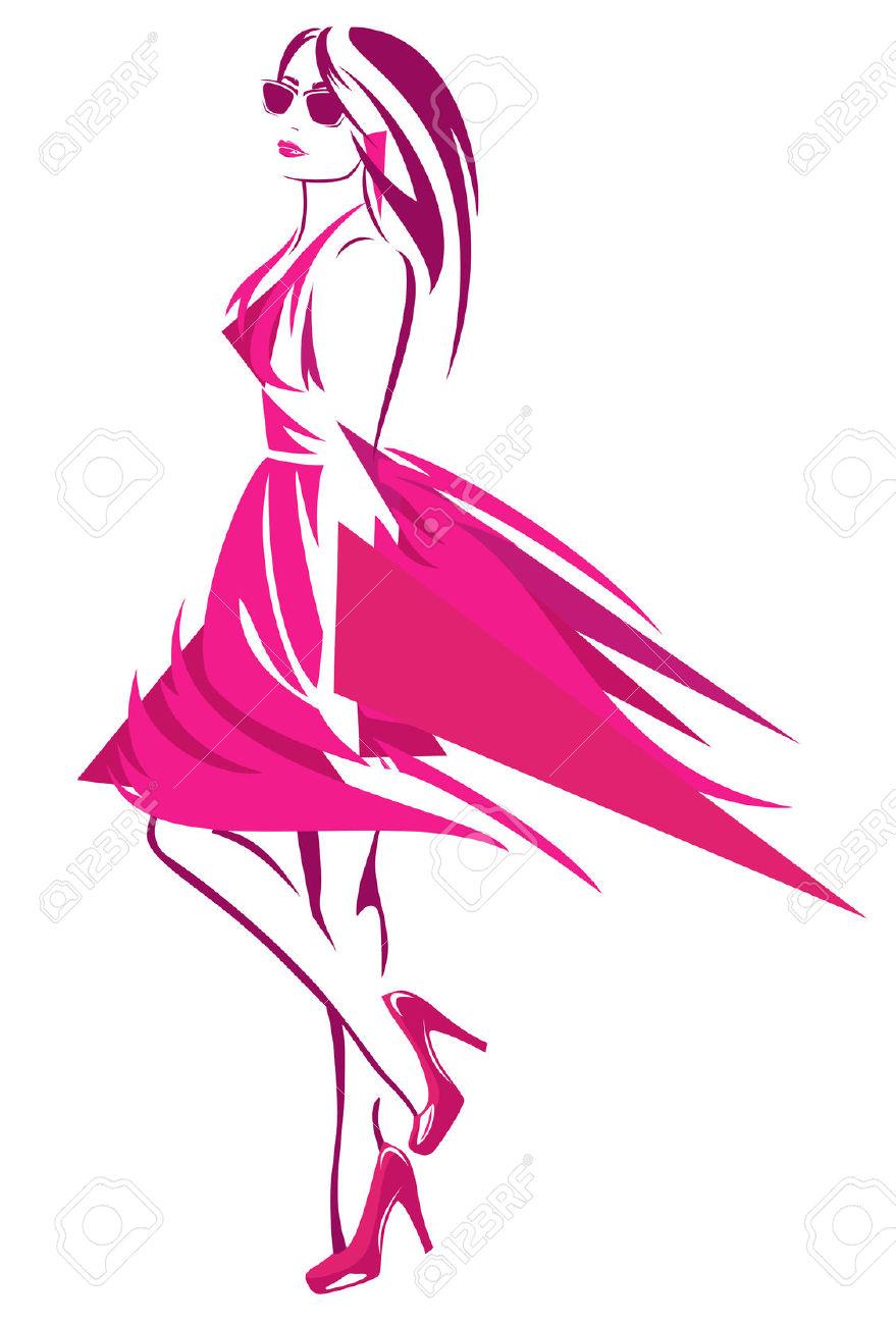 Schöne Frau Mit Leuchtend Rosa Kleid Und Hochhackige Schuhe.