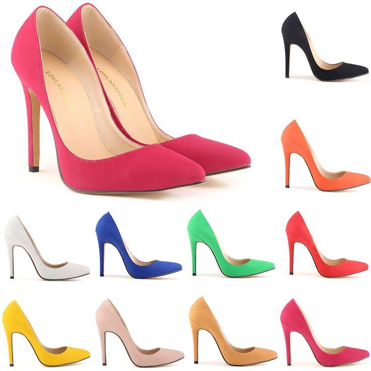 Ladies High Heels Stiletto Work Pumps Faux Suede Shoes Us Size 4 5.