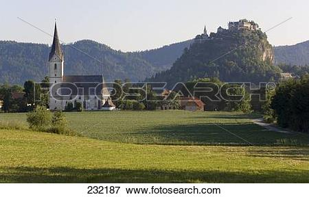 Picture of Church with castle on hill in background, Hochosterwitz.