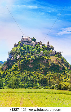 Stock Photography of View of Hochosterwitz castle in Austria.