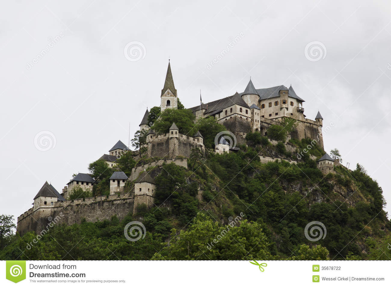 Hochosterwitz Castle At Rock, Carinthia In Austria Stock.