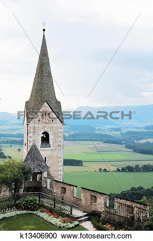 Stock Photography of The church in Castle Hochosterwitz k13406900.
