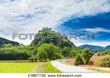 Stock Image of Road to Hochosterwitz castle in Austria k18871125.