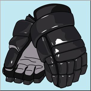 Clip Art: Ice Hockey Gloves Color 1 I abcteach.com.