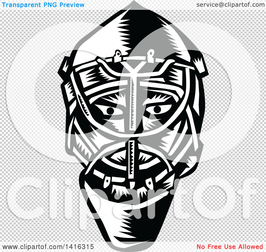 Clipart of a Retro Black and White Woodcut Ice Hockey Goalie.