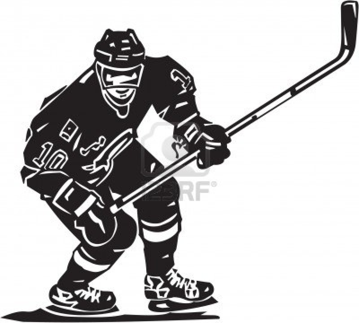 Black and white drawing of the hockey player clipart free image.