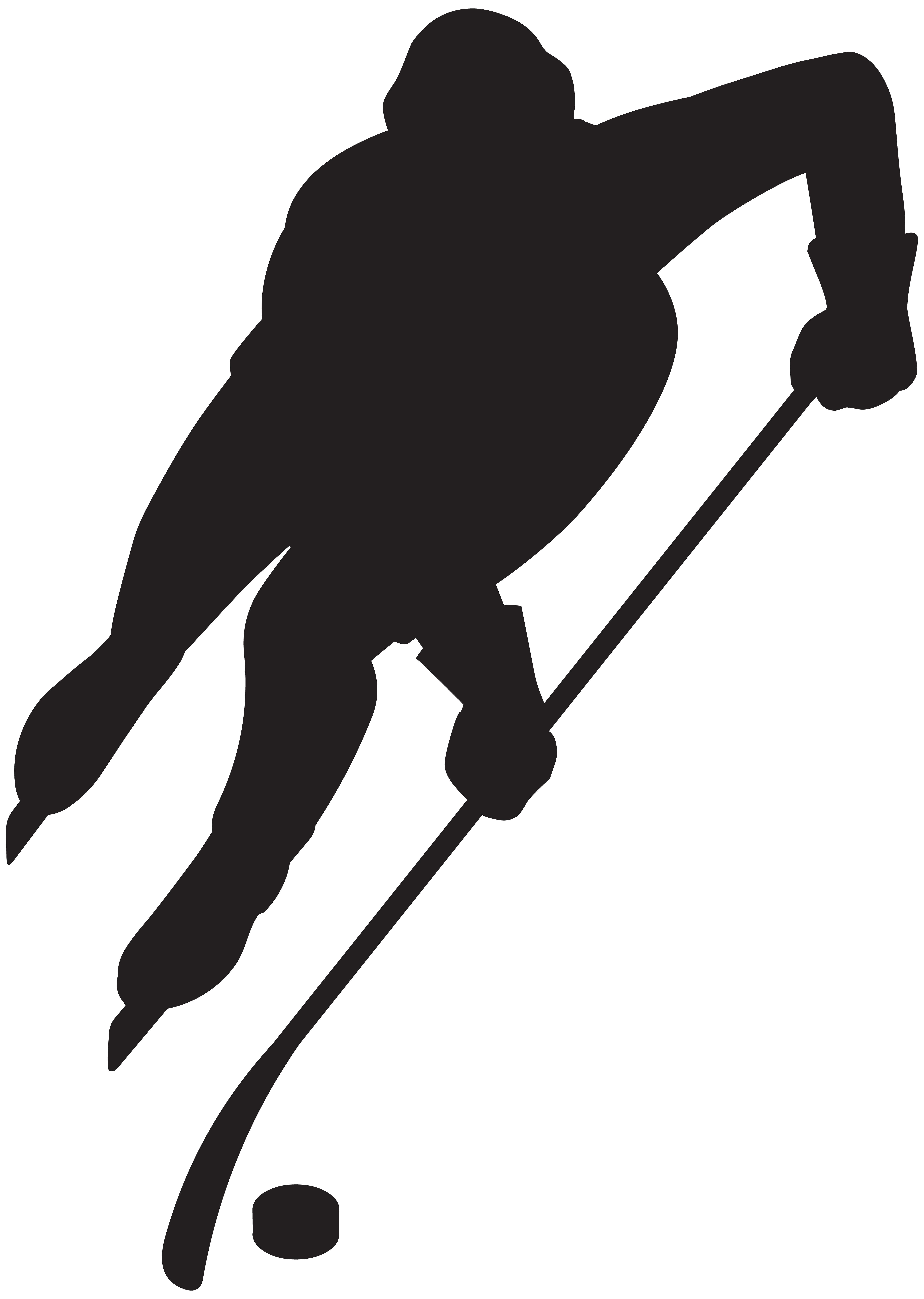 Hockey Player Silhouette PNG Clip Art Image.