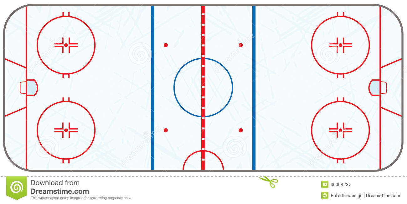 Vector Ice Hockey Rink With Skate Marks Royalty Free Stock.