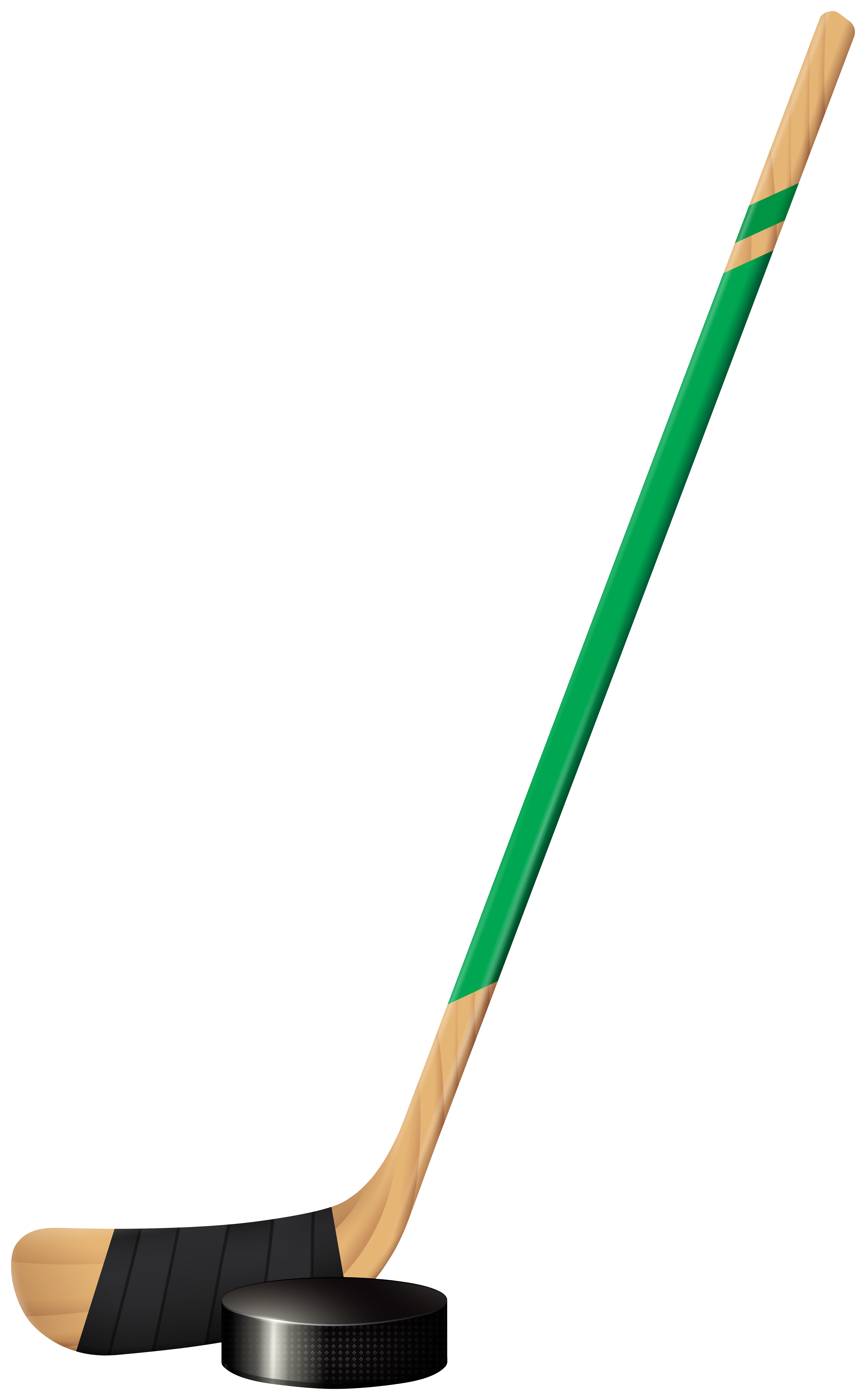Hockey Stick and Puck Clipart Image.