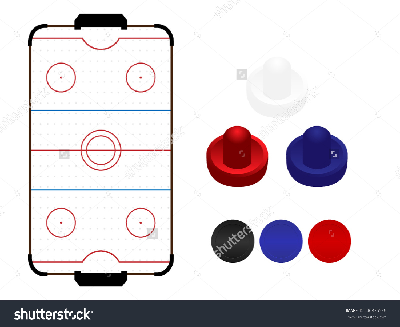 Air Hockey Table Mallets Pucks Stock Vector 240836536.