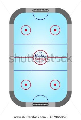 Air hockey table aerial view clipart.