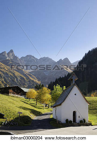 "Stock Photo of ""Chapel in Einoedsbach with Maedelegabel mountain."