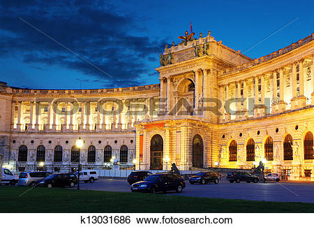 Stock Images of Vienna Hofburg Imperial Palace at night,.
