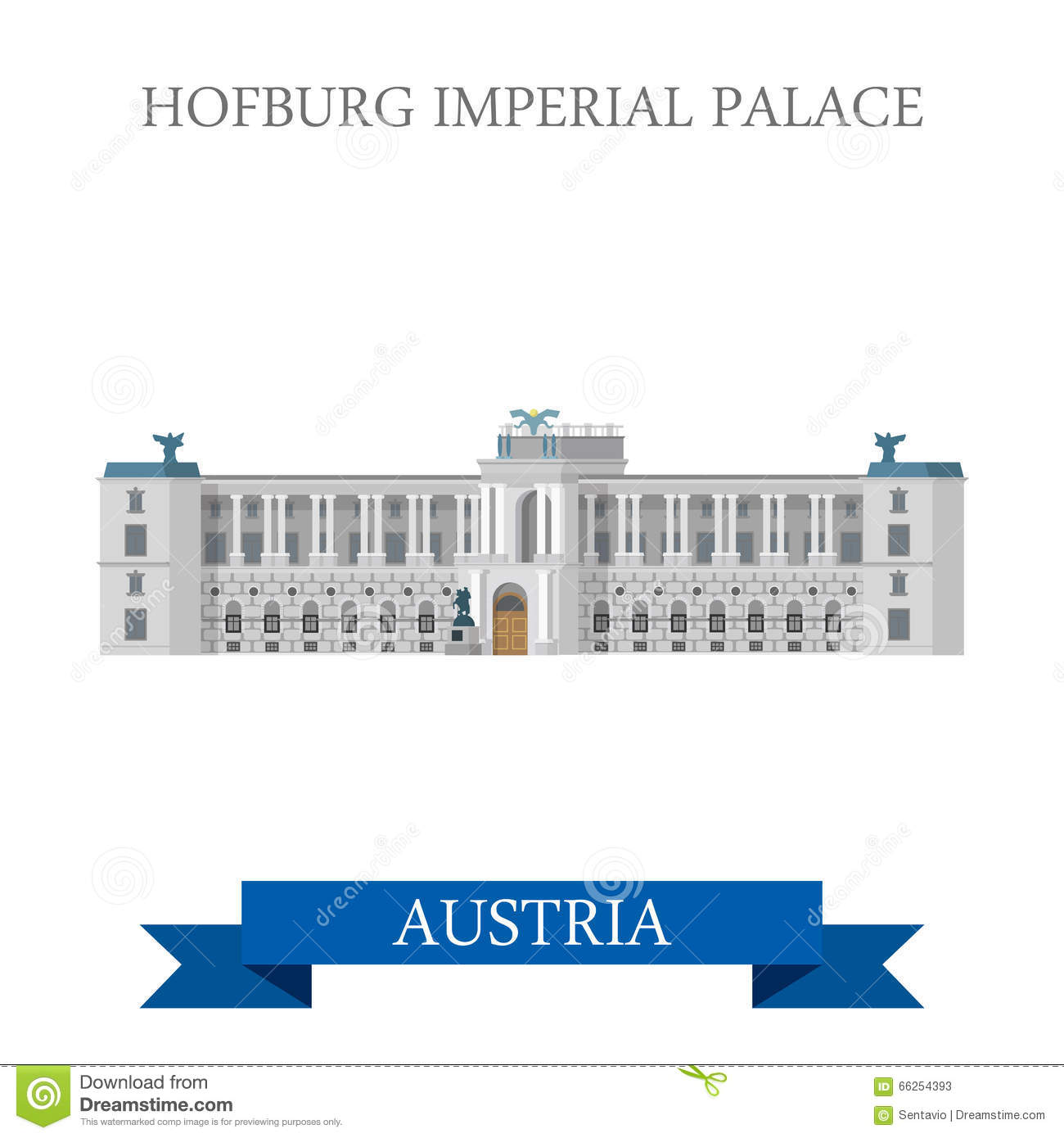 Hofburg Imperial Palace Vienna Austria Flat Vector Attraction.