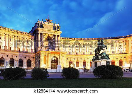 Drawings of Vienna Hofburg Imperial Palace at night,.