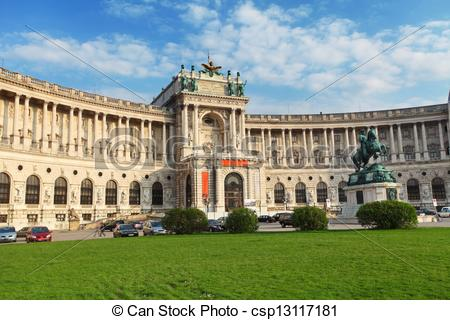 Pictures of Vienna Hofburg Imperial Palace at day,.