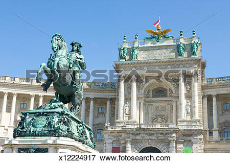 Picture of Austria, Vienna, Hofburg Palace and statue of Prince.