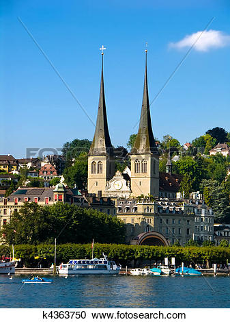 Stock Photography of Hofkirche in Luzern (Lucerne) in Switzerland.