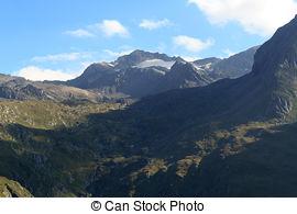 Stock Photo of Mountain Weissspitze and alpine hut Eisseehutte in.