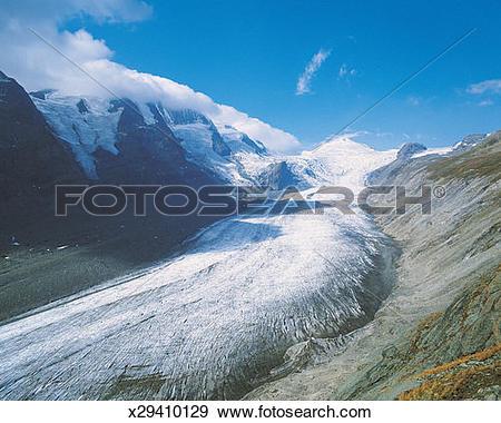 Stock Photograph of Pasterze Glacier With Mt Grossklockner in the.