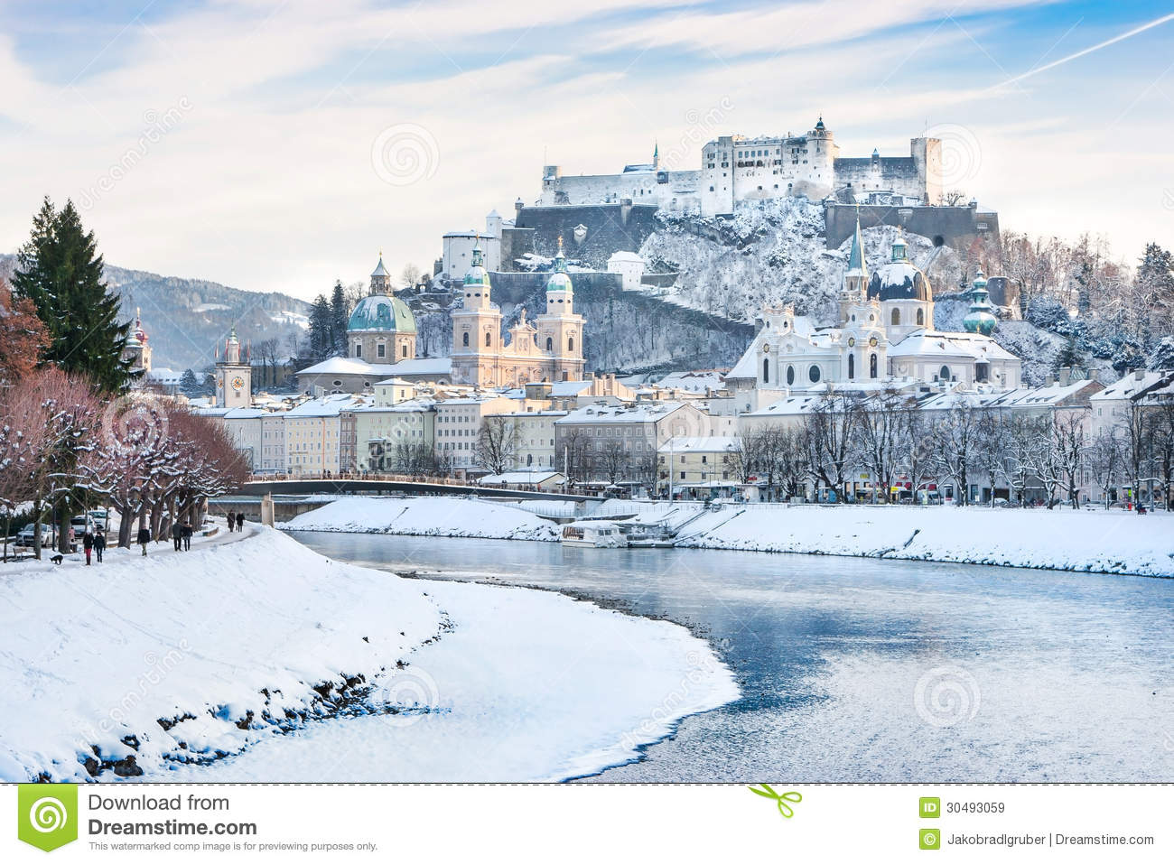 Salzburg Skyline With Festung Hohensalzburg And River Salzach.