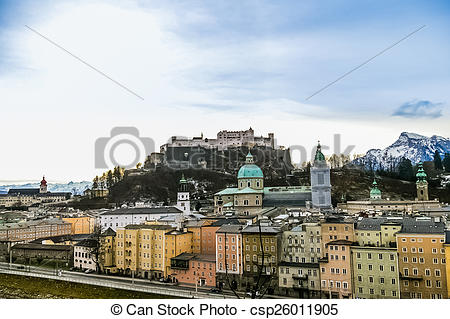 Stock Photography of Top view on Salzburg city and Hohensalzburg.