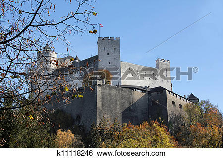 Stock Images of Hohensalzburg Fortress in Salzburg, Austria.