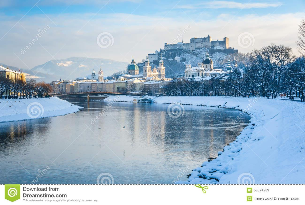 Salzburg Skyline With Fortress Hohensalzburg In Winter, Salzburg.