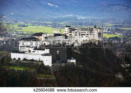 Pictures of Aerial view of famous Hohensalzburg Fortress in.