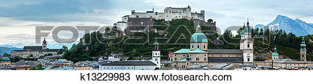 Stock Photo of Evening summer Salzburg City view from up and.