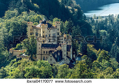 Picture of Hohenschwangau Castle, lake Schwansee behind, Schwangau.