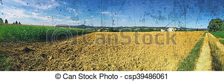 Stock Image of Panorama with cornfield and mountain Hohenstaufen.