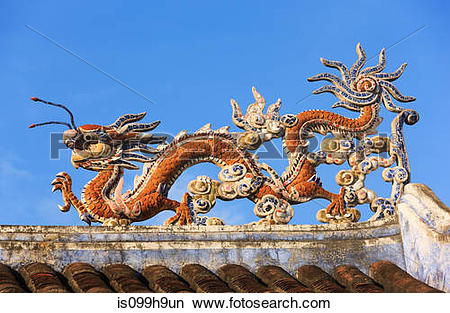 Stock Photo of Dragon detail on temple roof, Hoi An, Quang Nam.