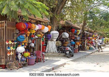Stock Photography of Vietnam, Hoi An, souvenirs shop, lanterns.