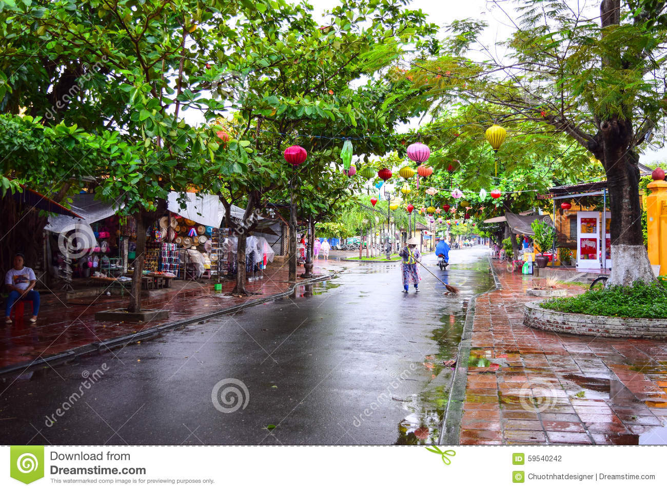 View Of The Street In Hoi An Old Town, Vietnam Editorial.