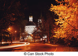 Stock Photography of Small town skyline at night.