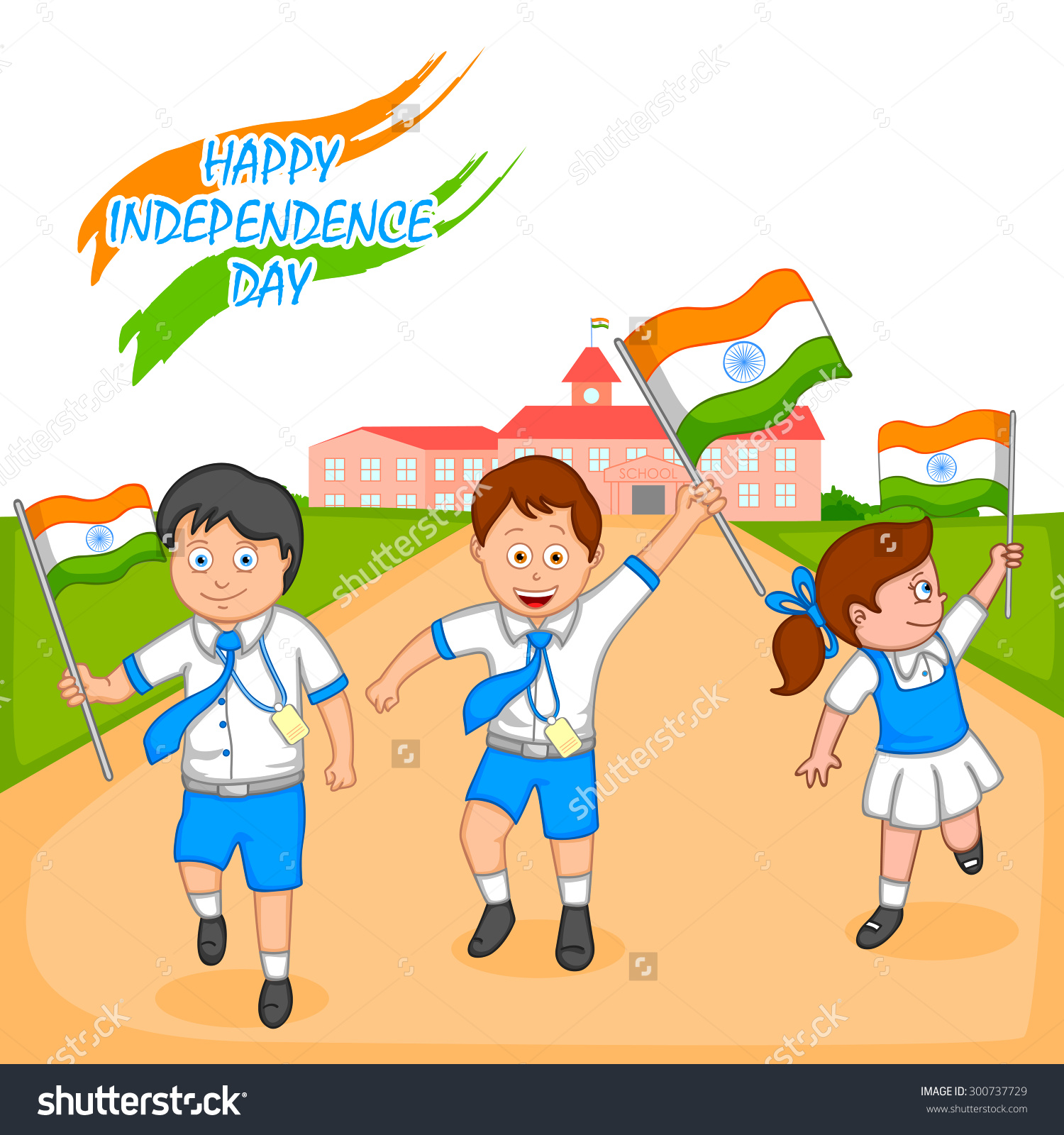 Indian Kid Hoisting Flag India Vector Stock Vector 300737729.