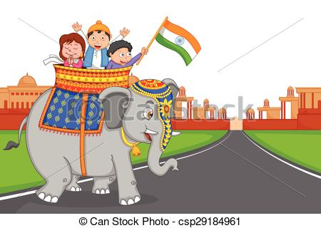 Clip Art Vector of Indian kid hoisting flag of India in vector.