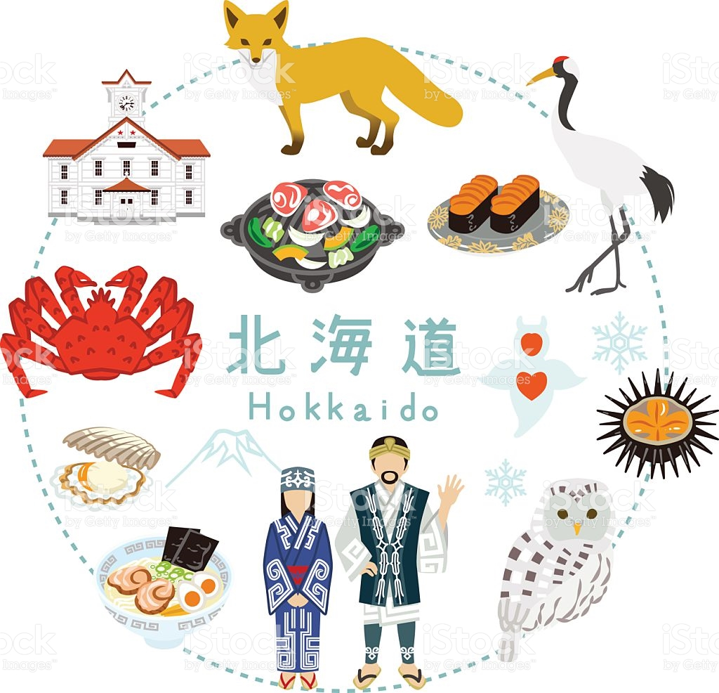 Hokkaido Tourism Flat Icons stock vector art 517664444.
