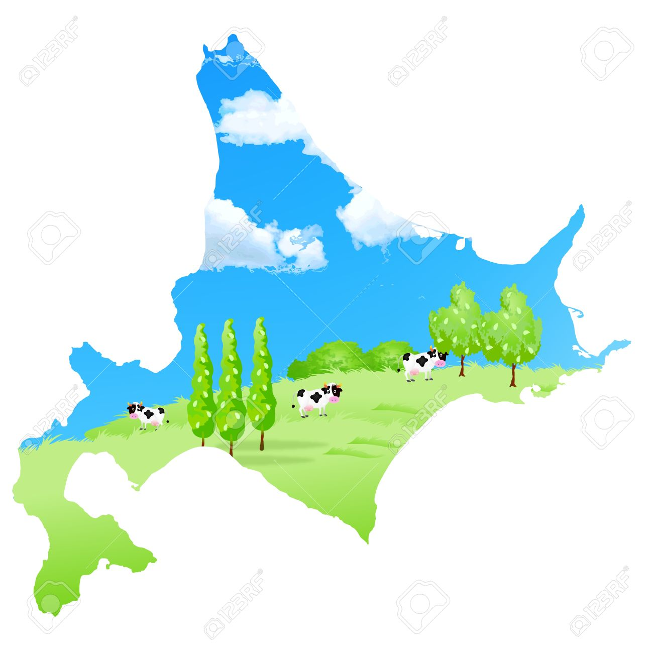 Cattle Ranch Map Hokkaido Royalty Free Cliparts, Vectors, And.