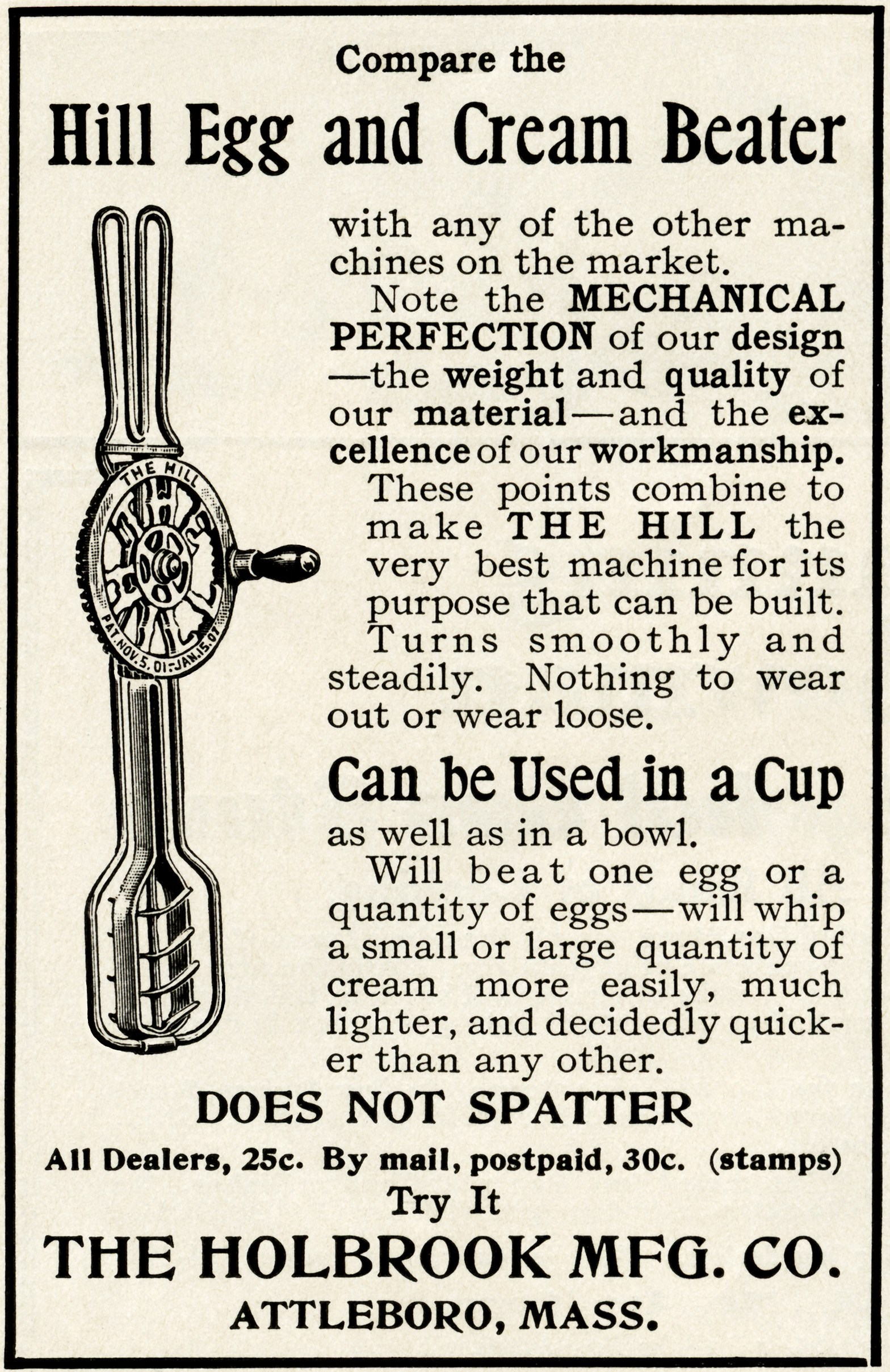 vintage mixer ad, holbrook mfg co beater, old fashioned mixer.