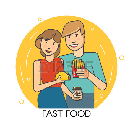 Young People Smiling Hold Fast Food In Hand Royalty Free Cliparts.