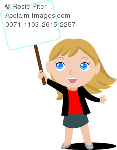 Clip Art Image Of A Young Girl Holding A Blank Sign.