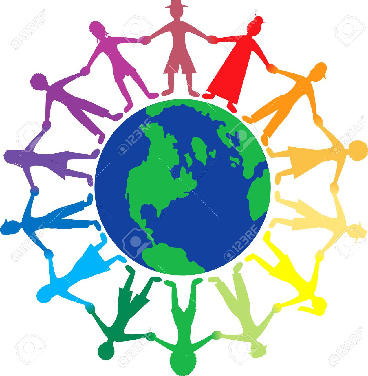 People Holding Hands Around The World Clipart.