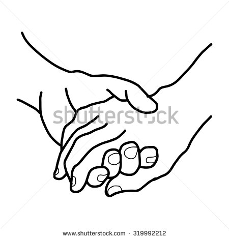 Holding Hands Clipart in Black And White.
